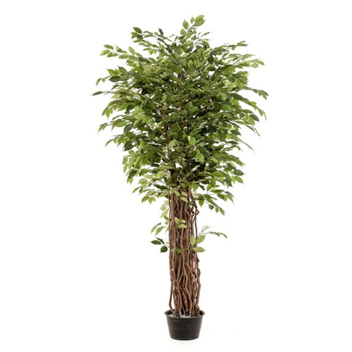 Ficus artificial decorativ in ghiveci negru din plastic - 150 cm