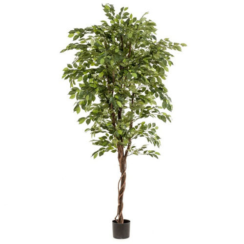 Ficus artificial decorativ in ghiveci negru din plastic - 175 cm