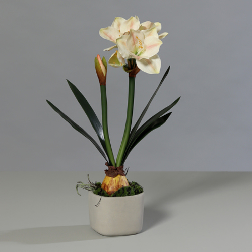 Floare artificiala Amaryllis roz-somon in ghiveci - 59 cm