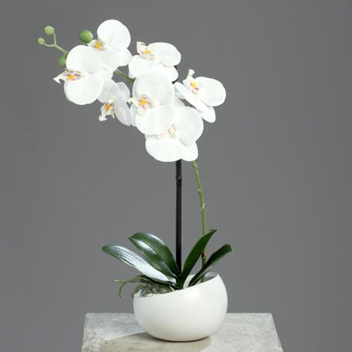 Orhidee artificiala alba in ghiveci ceramic - 40 cm