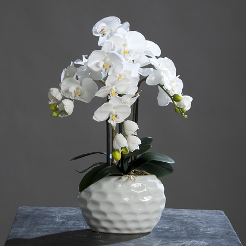 Orhidee artificiala alba in ghiveci ceramic - 59 cm