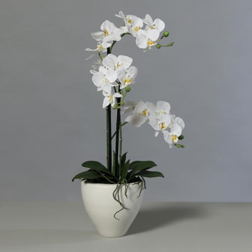 Orhidee artificiala alba in ghiveci ceramic - 70 cm